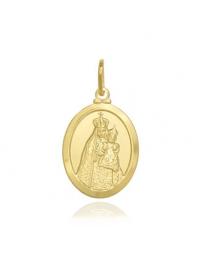 Pingente Medalha Nossa Senhora da Penha Banhado a Ouro 18k