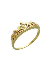 Anel de Coroa de Zircônia Banhado a Ouro 18k