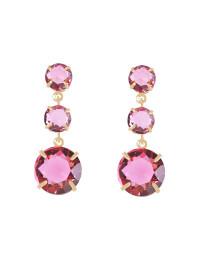 Brincos de Pedras Rosa Pink Banhados a Ouro 18k