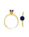 Anel Solitário com Pedra Azul Feminino Semijoias