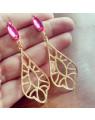 brinco princesa quartzo rosa folheado a ouro semijoia - Brincos da Moda