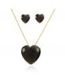 Colar de Coração com Brincos de Coração com Pedra Preta Folheados a Ouro