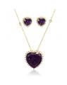 Maxi Colar Feminino com Pingente de Coração e Brincos de Pedras Roxas - Semi joias de luxo