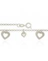 Pulseira Feminina com Pingentes de Coração - Joia em Prata